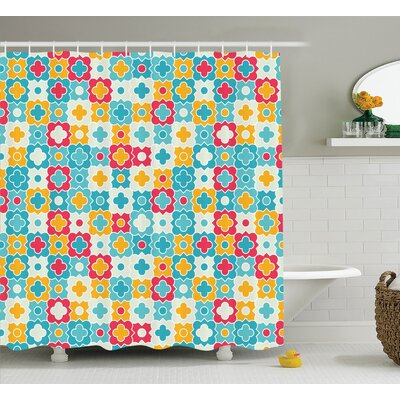 Amber Quatrefoil Clover Leaves Barb Clover Lattice Boho Colorful Kids Room Decor Shower Curtain Size: 69 W x 70 H