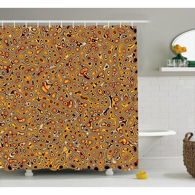 Tracie Abstract Golden Hallucinatory Plasma Shape Ethnic Eastern Marbleized Print Shower Curtain Size: 69 W x 75 H