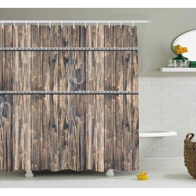 Bendigo Rustic Wooden Long Farmhouse Themed Planks With Screws and Lines Art Shower Curtain Size: 69 W x 70 H