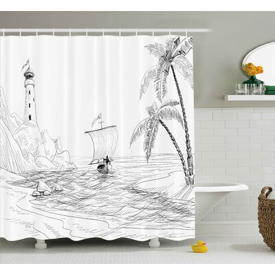 Bryner Beach Seascape Sketch With Boat Palm Tree and Lighthouse Coastal Hand Drawn Artwork Shower Curtain Size: 69 W x 70 H