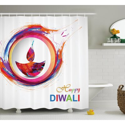 Palmier Diwali Rainbow Themed Colored Modern Image of Diwali Celebration Candle Fire Print Shower Curtain Size: 69 W x 70 H