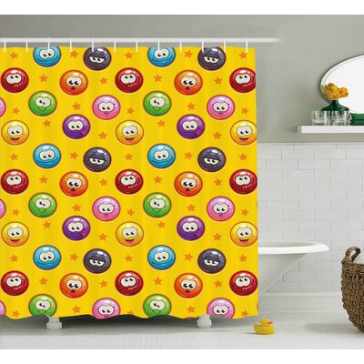 Julie Emoji Smiley Surprised Grumpy Sad Happy Mood Faces Background With Little Stars Art Print Shower Curtain Size: 69 W x 75 H