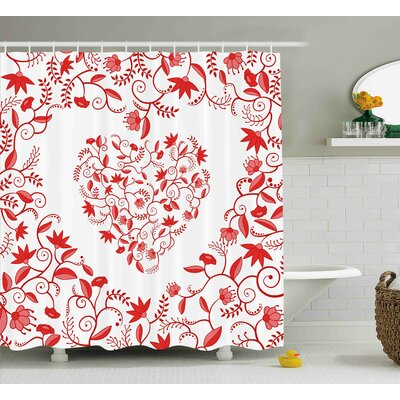 Valentines Day Paisley Floral Details With Leaves and Roses Shower Curtain Size: 69 W x 70 H