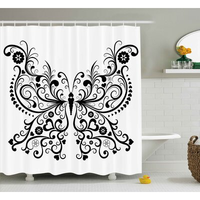 Ilene Animal Madam Butterfly Embellished Swirled Wings With Flower Spiritual Nature Image Shower Curtain Size: 69 W x 70 H