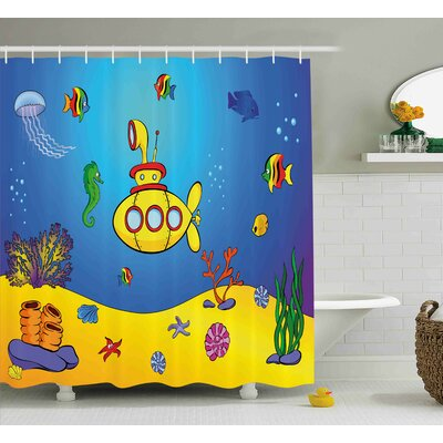 Fern Yellow Submarine Nautical Kids Colorful Fish Underwater Jellyfish Seahorse Shells Starfish Shower Curtain Size: 69 W x 70 H