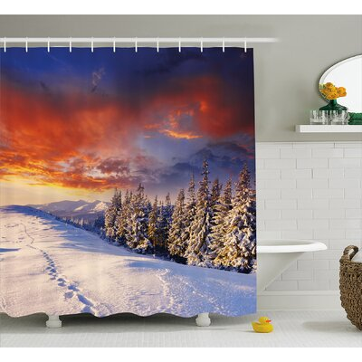 Bryneville Winter Ations Epic Cloudy Sky Over Majestic Mountains and Footsteps on Valley Decor Shower Curtain Size: 69 W x 70 H