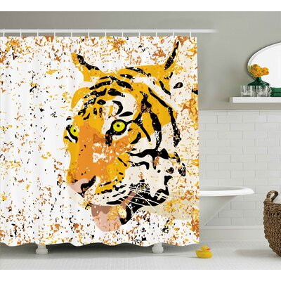 Bulaq Animal Wildlife Theme Vector Illustration of a Tiger Portrait Grunge Style Illustration Shower Curtain Size: 69 W x 70 H