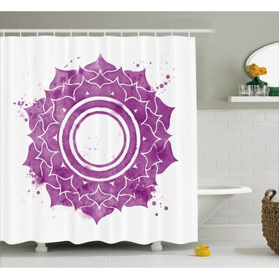 Kyoto Chakra Watercolor Flower With Sketch Splashes Around Universe Ethereal Artwork Shower Curtain Size: 69 W x 70 H