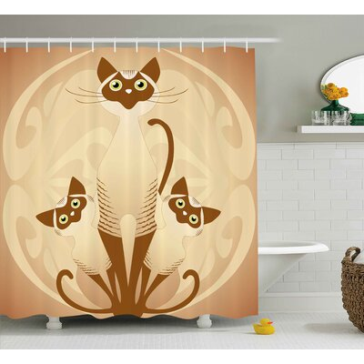 June Three Cats Feline Familly Asian Siamese Babies Kittens With Ivy Background Shower Curtain Size: 69 W x 84 H