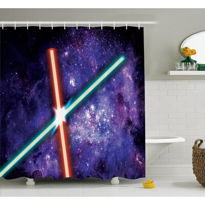 Estela Two Crossed Light Swords Futuristic Battle Fantastic Galaxy Wars Themed Print Shower Curtain Size: 69 W x 70 H