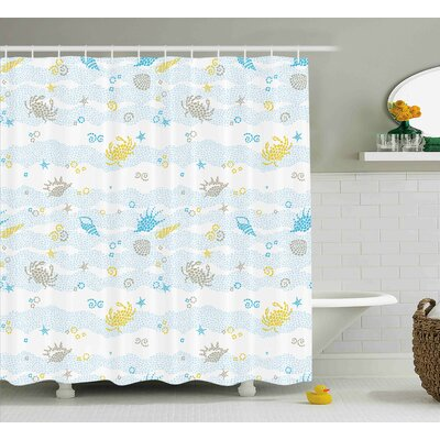 Socorro Maritime Decor Crabs and Seashells on Spotty Background Decorative Print Shower Curtain Size: 69 W x 70 H
