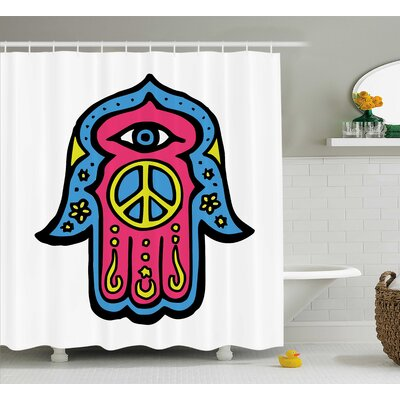 Annette Hamsa Hippie Boho Hand of Fatima With Peace Sign Shower Curtain Size: 69 W x 70 H