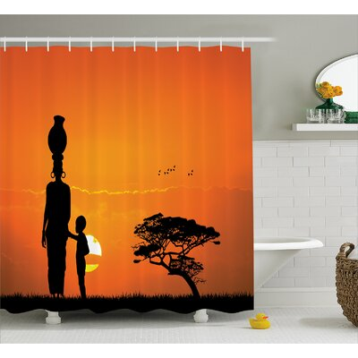 Habbous Child and Mother At Sunset Walking Shower Curtain Size: 69 W x 70 H