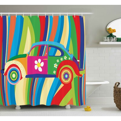 Dana Modern Retro Vector Hippie Style Classic Car With Daisy and Bold Stripes Artwork Shower Curtain Size: 69 W x 70 H