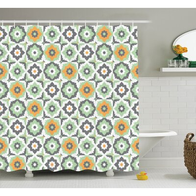 Tillmon Quatrefoil Lotus Figures Floral Moroccan Tile Pattern Eastern Inspired Retro Print Shower Curtain Size: 69 W x 70 H