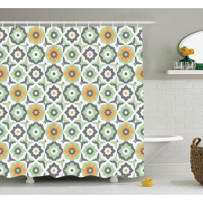 Tillmon Quatrefoil Lotus Figures Floral Moroccan Tile Pattern Eastern Inspired Retro Print Shower Curtain Size: 69 W x 70 H