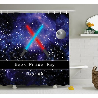 Teegan Gift For Geek Pride Day May 25 Two Crossed Swords Stars Galaxy Wars Pattern Shower Curtain Size: 69 W x 70 H
