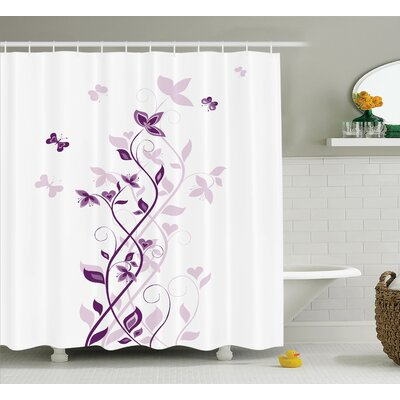 Leslie Purple Violet Tree Persian Lilac Blooms With Butterfly Art Ornamental Plant Graphic Shower Curtain Size: 69 W x 70 H