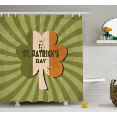 St. PatrickS Day Celebration Clover Retro Grunge Design With Sun Beam Stripes Festive Art Shower Curtain Size: 69 W x 70 H