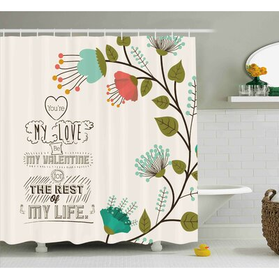 Valentines Day Valentines Day Romanic Themed Floral Flowers With Leaves Art Print Shower Curtain Size: 69 W x 70 H