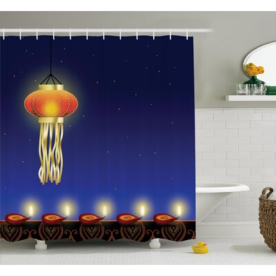 Mendez Diwali Religious Celebration Festive Night With Stars and Burning Candles Print Shower Curtain Size: 69 W x 70 H
