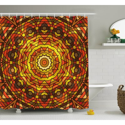 Naranjo Circular Round Celtic With Spiral Turning Lines Shower Curtain Size: 69 W x 75 H