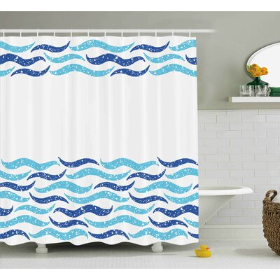 Buchholtz Modern Abstract Old Ocean Life Yatcht Sea Lake Navy Waves Geometrical Image Shower Curtain Size: 69 W x 70 H