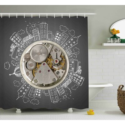 Aule An Alarm Clock Print With Buildings and Clouds Around It Checking The Time Shower Curtain Size: 69 W x 70 H
