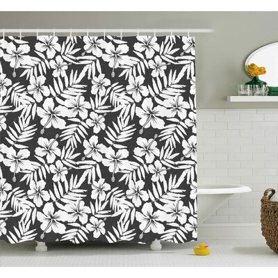 Ollie Tropical Artisan Exotic Hibiscus Flowers Fern Leaves Pattern Nature Plant Picture Shower Curtain Size: 69 W x 70 H