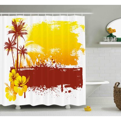 Tessa Modern Palm Trees Flowers Spray Print Like Modern Sealife Ocean Themed Artwork Shower Curtain Size: 69 W x 70 H