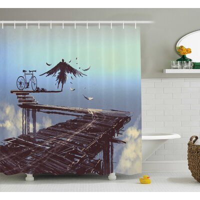 Martha Surreal Art Print Bird Man With Eagle Wings Fly Over The Clouds With Bike Shower Curtain Size: 69 W x 70 H