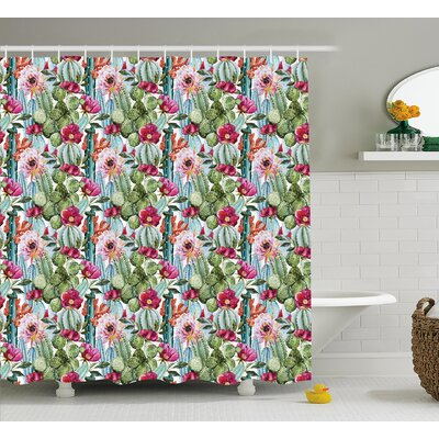 Naya Tropical Botanic Cactus Desert Plants With Flowers and Buds Artwork Image Shower Curtain Size: 69 W x 70 H