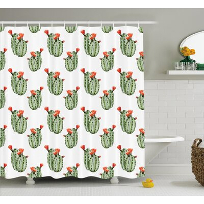 Brooke Cactus With Spikes and Red Flowers Mexican Hot Desert Vintage Image Art Shower Curtain Size: 69 W x 70 H