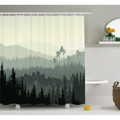 Burroway The Panorama of a Valley and a Mystic Forest of Pine Trees Shower Curtain Size: 69 W x 75 H