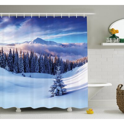 Jennings Surreal Winter Scenery With High Mountain Peaks and Snowy Pine Trees Shower Curtain Size: 69 W x 70 H