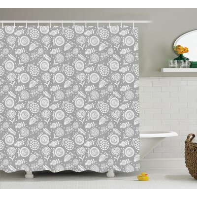 Mayra Flower Pattern Cartoon Doodle Blooming Petal Ornament Springtime Abstract Art Shower Curtain Size: 69 W x 70 H