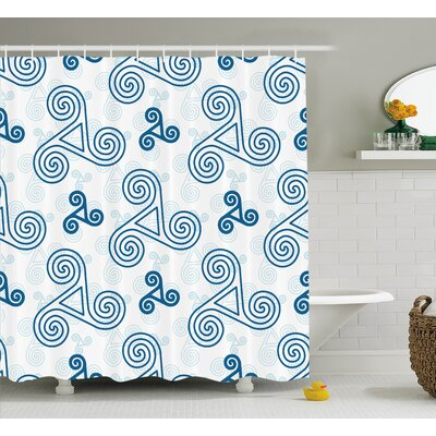 Nyo Various Size Triskel Celtic Symbols With Triple Spiral Extensions Illustration Shower Curtain Size: 69 W x 84 H