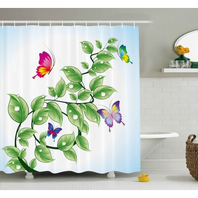 Fran Nature Floral Theme Branch With Leaves Butterflies and Drops of Water Pattern Shower Curtain Size: 69 W x 70 H