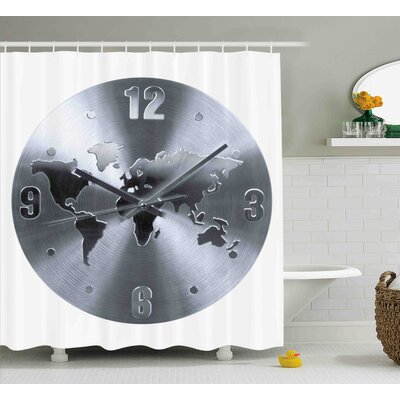 Casandra Silver Clock Pattern With a World Map Checking The Time Hour and Minute Hand Shower Curtain Size: 69 W x 70 H
