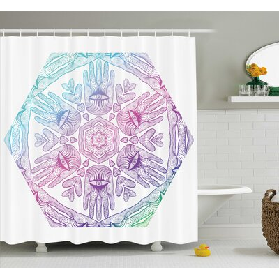 Hylton Evil Eye Boho Ombre Color Pattern Hamsa Hands Asian Cosmos Mystical Mandala Shower Curtain Size: 69 W x 70 H