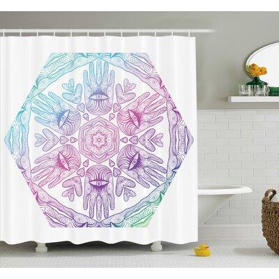 Hylton Evil Eye Boho Ombre Color Pattern Hamsa Hands Asian Cosmos Mystical Mandala Shower Curtain Size: 69 W x 70 H