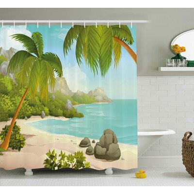 Dorthy Tropical Exotic Beach With Coconut Palm Trees and Rocks Journey Ocean Coastal Design Shower Curtain Size: 69 W x 70 H