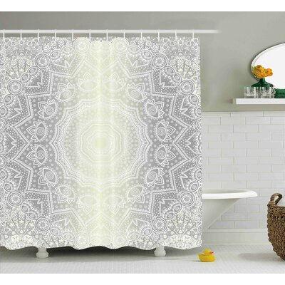 Stockbridge Grey and White Ritual Icon of Ethnic Culture Magic Mandala Circle Ombre Art of Cosmos Print Shower Curtain Size: 69 W x 70 H