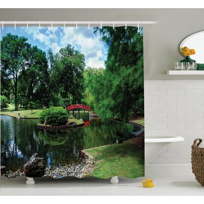 Ouatchia Japanese Lake With Bridge Asian Gardens Trees Natural Paradise Loneliness Shower Curtain Size: 69 W x 70 H