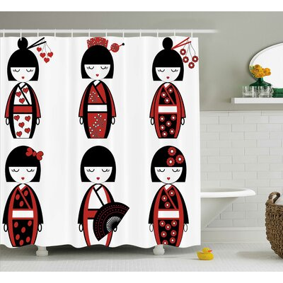 Kimberley Asian Geisha Dolls Shower Curtain Size: 69 W x 70 H