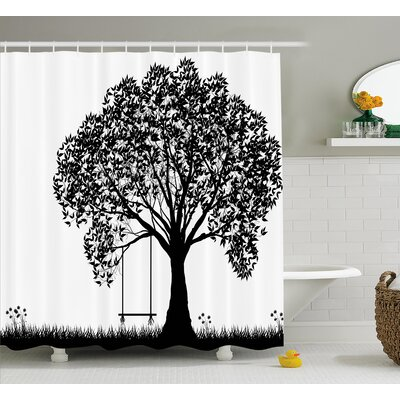 Carolyn a Tree Silhouette With a Swing Illustration Flowers and Grass Pattern Shower Curtain Size: 69 H x 75 W