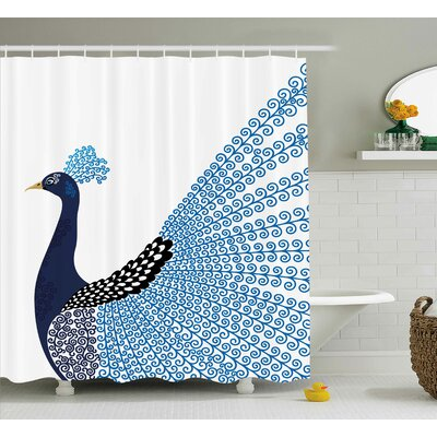 Kellie Animal Exotic Wild Magnificent Bird With Feather Peacock Modern Image Artwork Shower Curtain Size: 69 W x 75 H