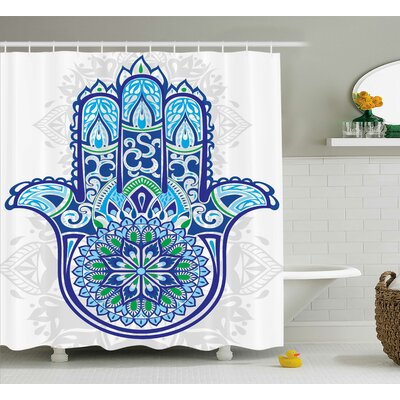 Sienna Hamsa Sacred Hand Ethnic Asian Ornamental Flower and Petal Folklor Pattern Shower Curtain Size: 69 W x 70 H