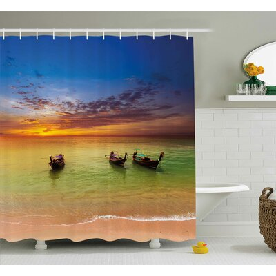 Concetta Tropical Traditional Thailand Boats Shower Curtain Size: 69 W x 70 H