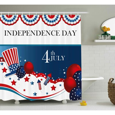 4th of July Trippy Dog With Hand Gestures American Day Historical Party Artful Graphic Shower Curtain Size: 69 W x 70 H